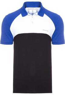 Polo Masculina Recorte Frente E Costas - Azul