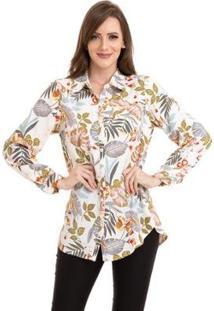 Camisa Kinara Crepe Floral Feminina - Feminino-Branco