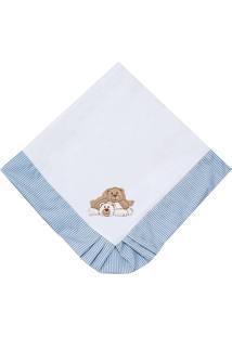Manta Enxoval Piquet Padroeira Baby Ursos Travessos Azul