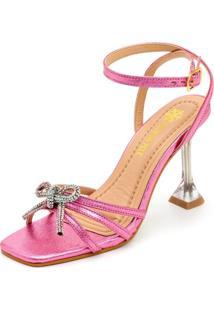 Sandália Salto Taça Cristal Feminina Confort Rosa Metalizado