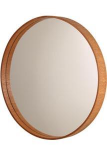 Espelho Formacril Redondo Com Moldura De Madeira A: 45 Cm X C: 45 Cm Mogno
