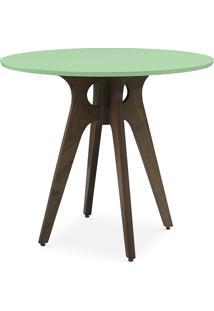 Mesa Redonda 4 Cadeiras Bianchi 90X77Cm Nogueira E Verde Sálvia