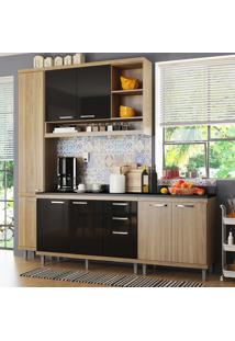 Cozinha Compacta 8 Portas Sicília Com Tampo 5813 Preto/Argila - Multimóveis