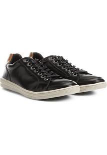 Sapatênis Couro Shoestock Masculino - Masculino-Preto