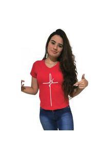 Camiseta Feminina Gola V Cellos Fé Premium Vermelho