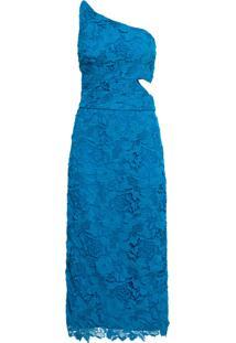 Vestido Renda Ombro Abertura Lateral - Azul
