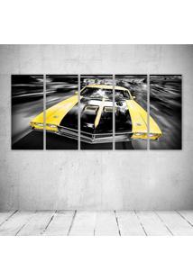 Quadro Decorativo - Carro Amarelo - Composto De 5 Quadros - Multicolorido - Dafiti