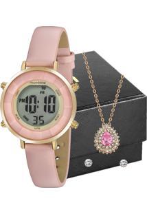 Kit Relógio Mondaine Feminino Com Colar E Brincos 53876Lpmvdhfk2