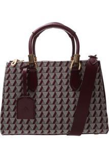 Bolsa Geomã©Trica Com Bag Charm- Bordã´ & Cinzaschutz