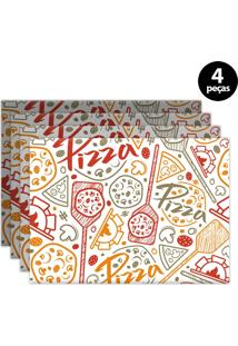 Kit 4Pçs Jogo Americano Mdecor Pizza 40X28Cm Bege