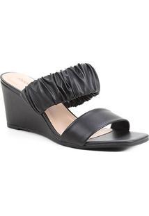 Mule Shoestock Anabela Soft - Feminino-Preto