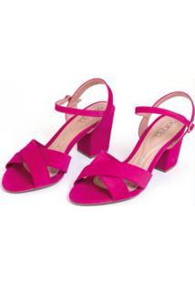 Sandália De Tira Pink Com Salto Blocado