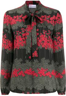 Red Valentino Red(V) Floral Pussy-Bow Blouse - Preto