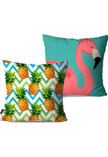 Kit Com 2 Capas Para Almofadas Decorativas Estilo Tropical Com Flamingos 45X45Cm