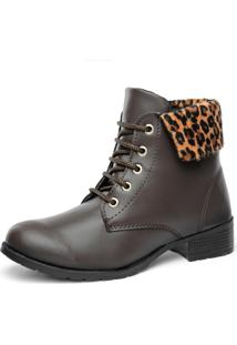 Bota F'S Look Animal-Print Oncinha Café