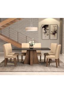 Conjunto De Mesa De Jantar Com 6 Cadeiras Estofadas Amanda Suede Preto E Bege