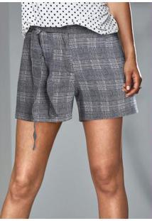 Shorts Xadrez Príncipe De Gales Azul