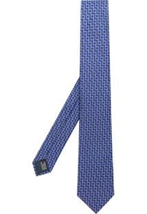 Lanvin Gravata De Seda Com Padronagem Geométrica - Azul
