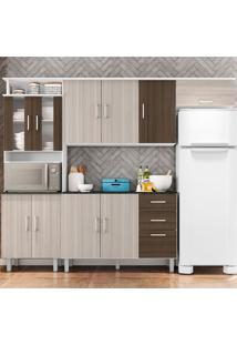 Cozinha Compacta Suíça 4 Peças Com Tampo - Poliman - Branco / Rovere / Amêndoa