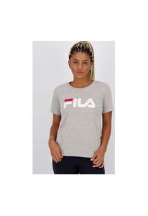 Camiseta Fila Basic Letter Feminina Cinza Mescla