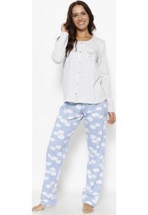 02fe89c52 ... Pijama De Ovelha   Nuvens - Cinza Claro   Azul Claromensageiro Dos  Sonhos