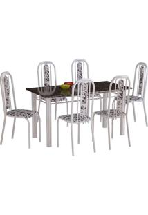 Conjunto De Mesa Com 6 Cadeiras Granada Branco Liso E Branco Floral