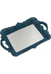 Bandeja Espelhada Pequena Decorativa Azul 4X30X20Cm - Branco - Dafiti