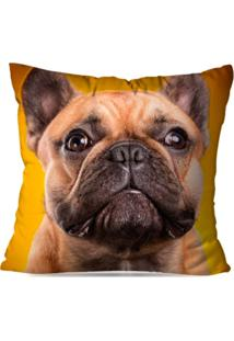 Capa De Almofada Decorativa Bulldog Amarelo 35X35Cm