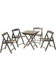 Jogo Mesa Com 4 Cadeiras Tramontina 10630/002 Beer Dobrável Tabaco