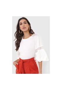 Camiseta Open Style Recortes Off-White