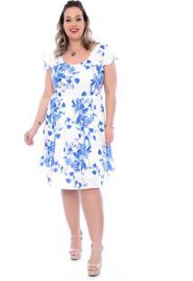 Vestido Romântico Flores Plus Size