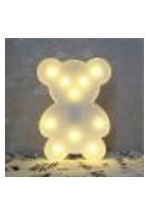 Luminária Led Abajur Infantil Decoracão Ursinho Branco