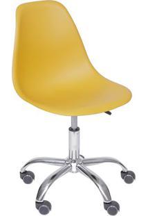 Cadeira Eames Dkr- Açafrão & Prateada- 93X47X41Cm