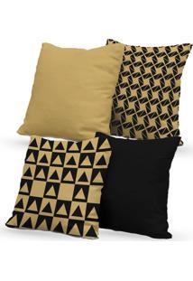 Kit 4 Capas De Almofadas Decorativas Own Geométricas E Lisas Bege E Preta 45X45 - Somente Capa