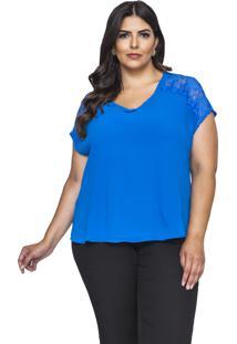 Blusa Almaria Plus Size Pianeta Renda Azul