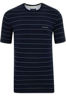 Camiseta Malha Listrada Com Elastano Marinho New