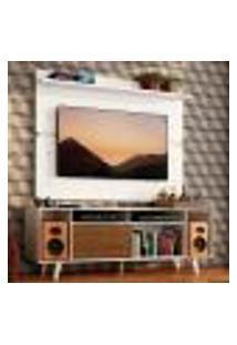 Rack Madesa Cancun Com Pés E Painel Para Tv Até 65 Polegadas - Branco/Rustic 9B09