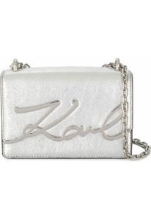 Karl Lagerfeld Bolsa Transversal Com Placa De Logo - Prateado