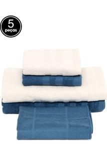 Jogo De Banho 5Pçs Teka Hanna Azul/Branco