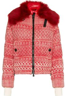 Moncler Grenoble Siusi Printed Fur Trimmed Feather Down Jacket - Vermelho