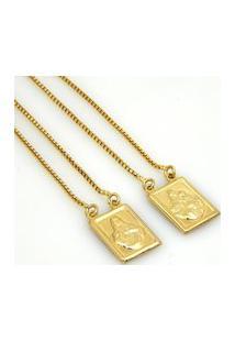 Escapulário Horus Import Nossa Senhora Carmo Banhado Ouro Amarelo 18 K - 1050001 - Dourado