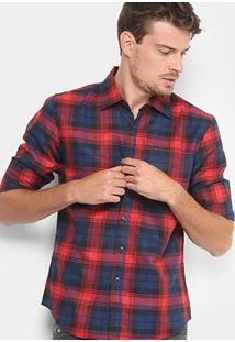 Camisa Xadrez Broken Rules Flanelada Masculina - Masculino-Vermelho