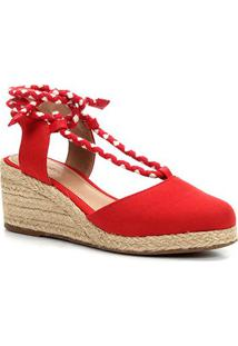 Sandália Anabela Shoestock Amarração Feminina - Feminino-Vermelho