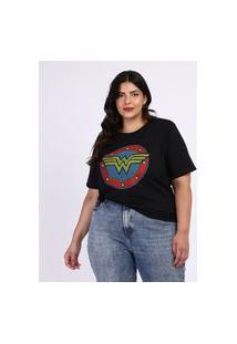 Blusa Feminina Plus Size Mulher Maravilha Manga Curta Preta