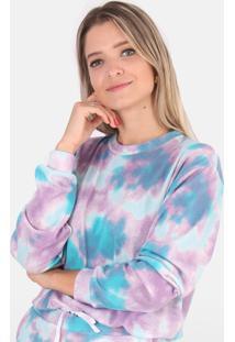 Blusa Cropped Moletinho Comfy Tie Dye Colorido - Azul - Feminino - Dafiti