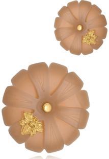 Brinco Le Diamond Flor Grande Com Abelha Marrom - Kanui