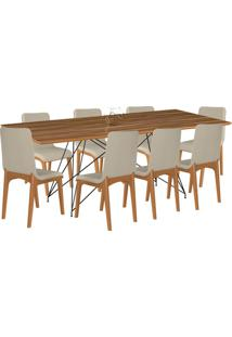 Conjunto Sala De Jantar 8 Cadeiras Mesa 200Cm Teka/Champagne Lins Linho Bege - Gran Belo - Tricae