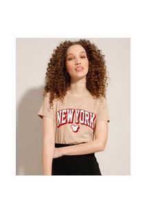 "Camiseta De Algodão Mickey New York"" Flocada Manga Curta Decote Redondo Kaki"""