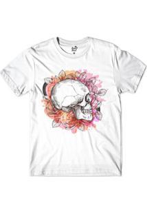 Camiseta Long Beach Caveira Aquarela Perfil Sublimada Masculina - Masculino-Branco