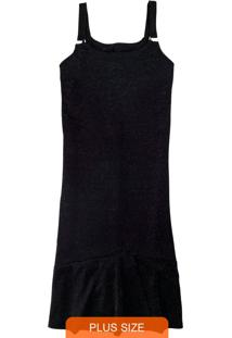 Vestido Preta Mídi Com Lurex